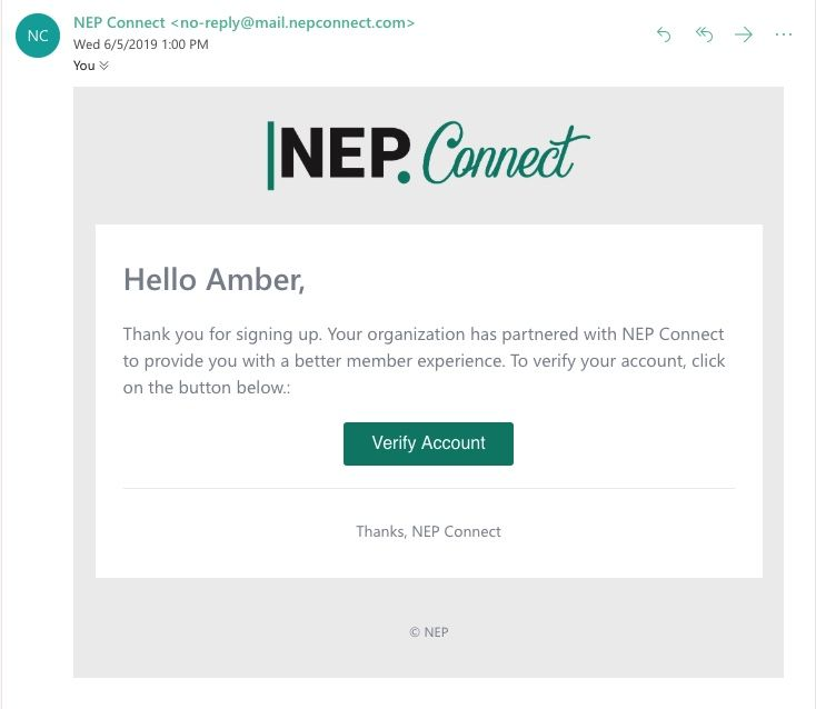 NEP Connect Registration email